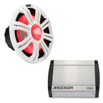 """Kicker KMF124 12"""" Marine Subwoofer Bass Kit with KXM4002 Amplifier 400 Watt at 4 Ohm for Sealed Applications"""