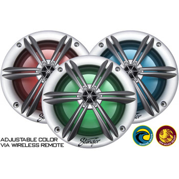 "Stinger SEA65RGBS 6.5"" Coaxial Speaker With Built-In Multi-Color Rgb Lighting"