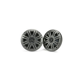 Kicker KM4 4-Inch (100mm) Marine Coaxial Speakers with 1/2-Inch (13mm) Tweeters, 2-Ohm, Charcoal and White Grilles