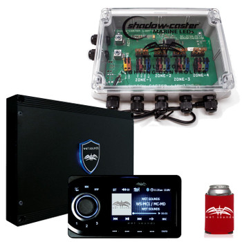 Wet Sounds WS-MC1 & LED Controller Bundle: Marine Media System with Full-Color LCD Display & 4-Zone LED Controller