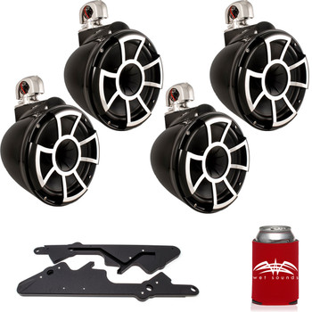 "Wet Sounds For Malibu G3 Tower System Two Pairs of REV10B-SC 10"" Black Swivel Mount Tower Speakers & Black Adapters"