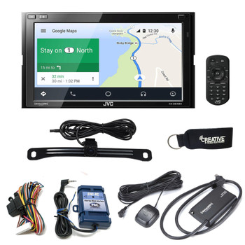 JVC KW-M845BW compatible with Wireless Android Auto, CarPlay + Rear Camera & Steering Interface & SiriusXM Tuner