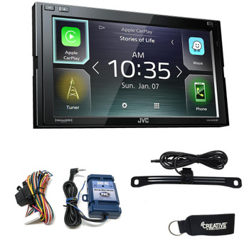 JVC KW-M740BT Compatible with CarPlay, Android Auto 2-DIN Receiver (No CD) w/ back up camera & Steering Interface