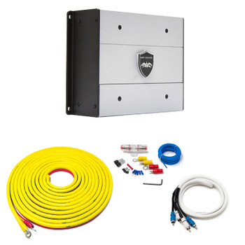 Wet Sounds HTX1 Package: 650 Watt Subwoofer Amplifier & Stinger 7-Meter 4-Gauge Amplifier Wiring Kit w/ RCAs