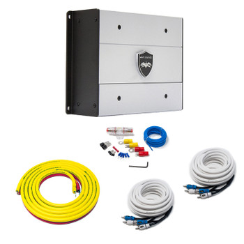Wet Sounds HTX4 Package: 600 watt 4-channel amplifier & Stinger 3-Meter 4-Gauge Amplifier Wiring Kit w/ RCAs