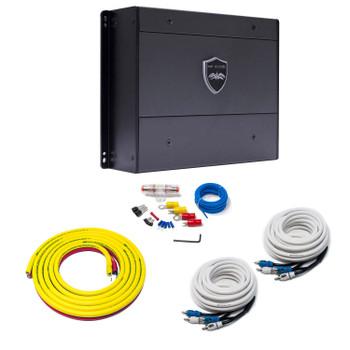 Wet Sounds SYN-DX 4 Full Range Class D Amplifier & Stinger 3-Meter 4-Gauge Amplifier Wiring Kit w/ RCAs