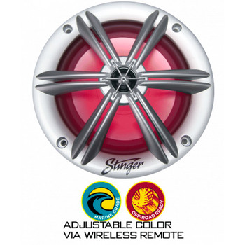 """Four pairs of Stinger SEA65RGBS 6.5"""" Coaxial Speaker With Built-In Multi-Color Rgb Lighting (8 Speakers)"""