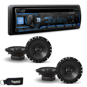 "Alpine CDE-172BT CD Receiver with Bluetooth + Two Pairs of Alpine S-S65 S-Series 6.5"" Coaxial Speakers"