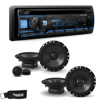"Alpine CDE-172BT Receiver w/ Bluetooth, A Pair of Alpine S-S65C 6.5"" Component Speakers & S-S65 6.5"" Coaxial Speakers"