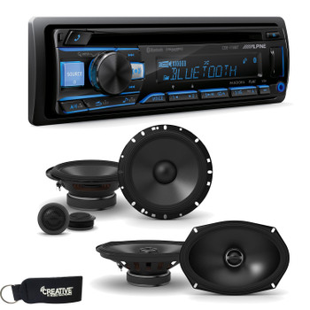 "Alpine CDE-172BT Receiver w/ Bluetooth, A Pair of Alpine S-S65C 6.5"" Component Speakers & S-S69 6x9"" Coaxial Speakers"