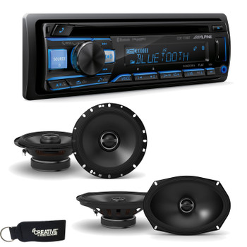"Alpine CDE-172BT CD Receiver with Bluetooth + A Pair of Alpine S-S65 S-Series 6.5"" Speakers & S-S69 6x9"" Speakers"