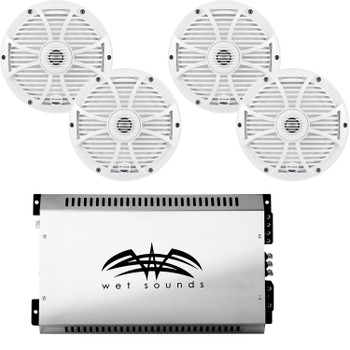 """Wet Sounds 8"""" White Marine System: Two pairs of SW-808-W 8"""" speakers & SYN2 700 Watt Amplifier"""