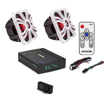 "Kicker 44L7S102 L7 10"" Subwoofers, a Kicker 44KXMA12001 1200 watt marine amplifier & White LED Grills with remote"