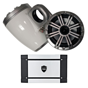 Kicker Marine  Wake Tower System w/ Silver 6.5 Speakers, Wet Sounds HT-4 400 Watt Marine Amp