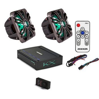 "Kicker 44L7S102 L7 10"" Subwoofers, a Kicker 44KXMA12001 1200 watt marine amplifier & Charcoal LED Grills with remote"