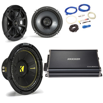 "Kicker 44CWCS104 10"" CompC Subwoofer 43CSC654 6.5"" CS-Series Speakers with 43CXA3004 CX-Series Amplifier and wire kit"