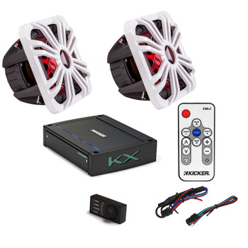"Kicker 44L7S122 L7 12"" Subwoofers, a Kicker 44KXMA12001 1200 watt marine amplifier & White LED Grills with remote"