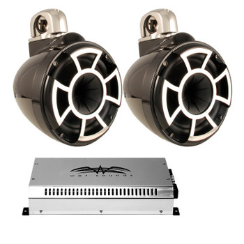 """Wet Sounds 8"""" Black Tower System: A Pair of REV8B-FC 8"""" Tower speakers & SYN2 700 Watt Amplifier"""