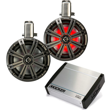 "Kicker Tower System - Two Black Kicker 8"" LED Wake Tower Speakers w/ Swivel Clamps & KXM4002 400 Watt Amplifier"