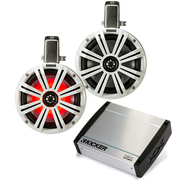 "Kicker Tower System - Two White Kicker 8"" LED Wake Tower Speakers w/ Swivel Clamps & KXM4002 400 Watt Amplifier"