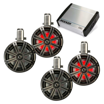 "Kicker Tower System - Four Black Kicker 8"" LED Wake Tower Speakers w/ Swivel Clamps & KXM4002 400 Watt Amplifier"