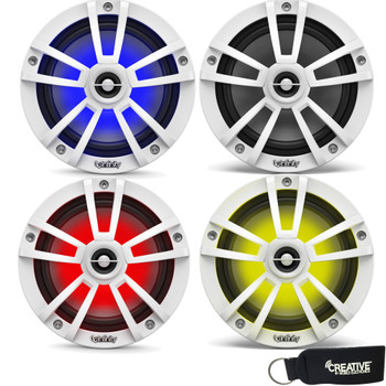 Infinity Marine Bundle - Two Pairs of Infinity 622MLW Marine 6.5 Inch RGB LED Coaxial Speakers - White