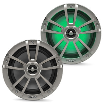 """Infinity - A Pair of 622MLT Marine 6.5 Inch LED Coaxial Speakers & A 1022MLT 10"""" Marine LED Subwoofer - Titanium"""