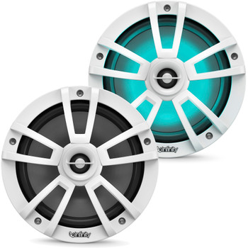 """Infinity - Two Pairs Of 822MLW Marine 8 Inch LED Speakers & Two 1022MLW 10"""" Marine LED Subwoofers - White"""