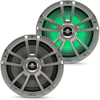 """Infinity - A Pair of 822MLT Marine 8 Inch LED Speakers & A 1022MLT 10"""" Marine LED Subwoofer - Titanium"""