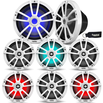 """Infinity - Three Pairs Of 822MLW Marine 8 Inch LED Speakers & Two 1022MLW 10"""" Marine LED Subwoofers - White"""