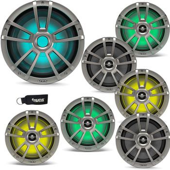 "Infinity - Three Pairs Of 822MLT Marine 8 Inch LED Speakers & A 1022MLT 10"" Marine LED Subwoofer - Titanium"