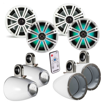 "Kicker 8 Inch Marine Wake Tower Bundle 4 8"" LED Speakers and Tower Enclosures in White - Includes KMTAP & LED Controller"