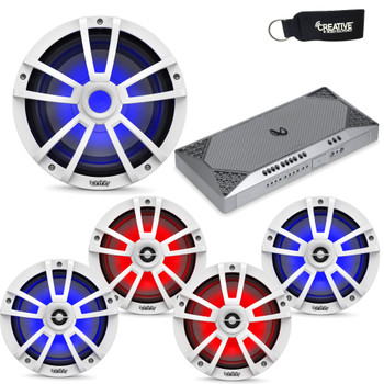 """Infinity Marine System - Two pairs of 622MLW 6.5"""" LED speakers, A 1022MLW 10"""" LED Subwoofer, & M4555A Amplifier - White"""