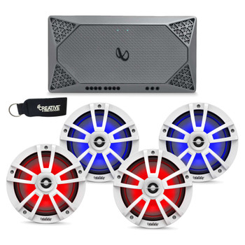 """Infinity Marine - Two Pairs of 822MLW White 8"""" LED Speakers, and a M704A 4-Channel Marine Amplifier"""