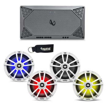 """Infinity Marine - Two Pairs of 622MLW White 6.5"""" LED Speakers, and a M704A 4-Channel Marine Amplifier"""