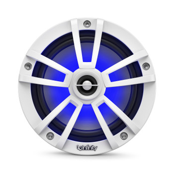 "Infinity Marine - Two Pairs of 622MLW White 6.5"" LED Speakers, and a M704A 4-Channel Marine Amplifier"