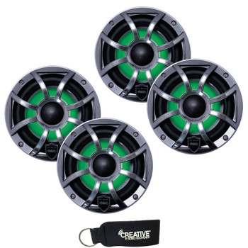 Wet Sounds - Two Pairs Of REVO 6-XSG-SS GunMetal XS/Stainless Overlay Grill 6.5 Inch Marine LED Coaxial Speakers
