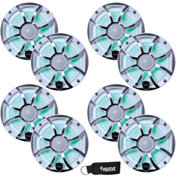 Wet Sounds - Four Pairs Of REVO 6-XSW-SS White XS / Stainless Overlay Grill 6.5 Inch Marine LED Coaxial Speakers