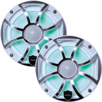 Wet Sounds - Two Pairs Of REVO 6-XSW-SS White XS / Stainless Overlay Grill 6.5 Inch Marine LED Coaxial Speakers