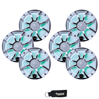 Wet Sounds - Three Pairs Of REVO 6-XSW-SS White XS / Stainless Overlay Grill 6.5 Inch Marine LED Coaxial Speakers