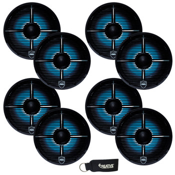 Wet Sounds - Four Pairs Of REVO 6-XWB Black Closed XW Grille 6.5 Inch Marine LED Coaxial Speakers