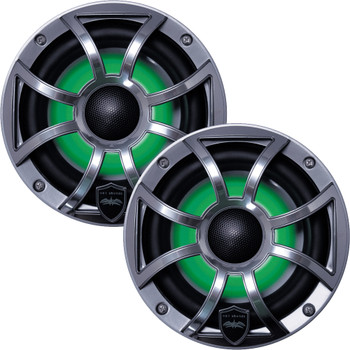 Wet Sounds - Four Pairs Of REVO 6-XSG-SS GunMetal XS/Stainless Overlay Grill 6.5 Inch Marine LED Coaxial Speakers