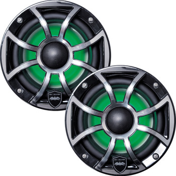 Wet Sounds - Two Pairs Of REVO 6-XSB-SS Black XS / Stainless Overlay Grill 6.5 Inch Marine LED Coaxial Speakers