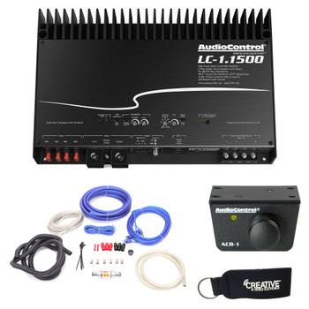 AudioControl LC-1.1500 amplifier,  ACR-1 Dash Remote, And Wiring Kit