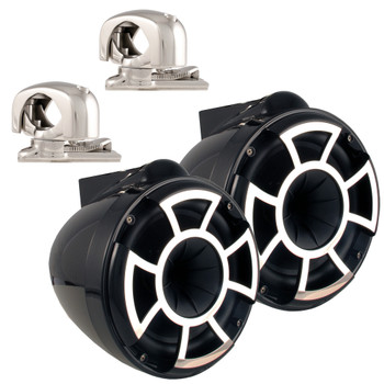 "Wet Sounds REV8 Black 8"" Tower Speakers with Mini Swivel Clamps - Fits 1"" to 1 7/8"" Pipe"