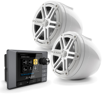 JL Audio MM100S MediaMaster with VeX Pods, Powersports bundle for UTV Side by Side -  2 Speakers White