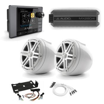 JL Audio RZR Bundle - MM100S MediaMaster, MX280/4 Amplifier, 2 White VeX POD Speakers, & Stinger Amp Kit