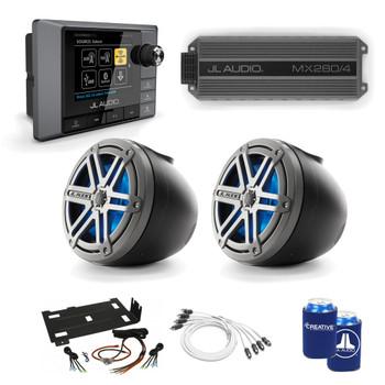 "JL Audio RZR Bundle - MM100S MediaMaster, MX280/4 Amp, 2 Titanium LED VeX POD Speakers w/ 1.75"" Clamps & Stinger Amp Kit"