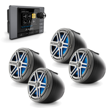 JL Audio MM100S MediaMaster with VeX Pods, Powersports bundle for UTV Side by Side -  with 4 LED Speakers Titanium Black