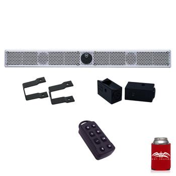 """Wet Sounds Stealth 10 Ultra HD White + UTV Mounting Kit, Slider bracket and Square 1"""" Tube clamp"""